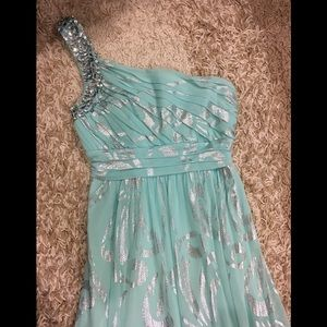 One shoulder mint green silver floral gown